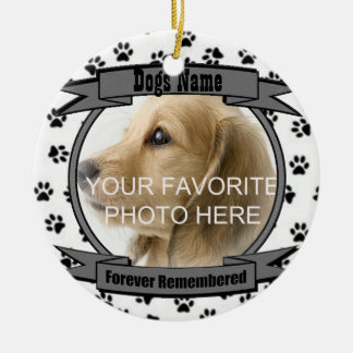 In Memory of Your Dog Forever Remembered Round Ceramic Ornament