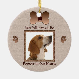 In Memory of Your Pet Dog or Cat - Beige Round Ceramic Ornament