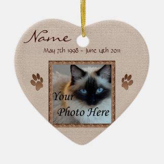 In Memory of Your Pet - Photo Memorial Ceramic Heart Ornament