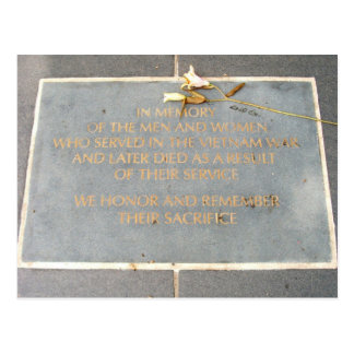 In Memory Plaque | Vietnam Veterans Memorial Postcard