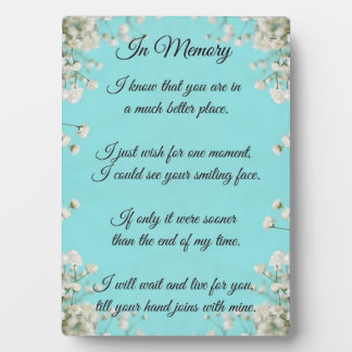 In Memory Plaque with easel