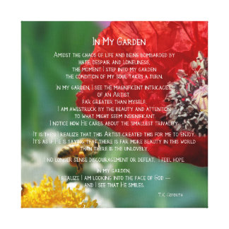 In My Garden Inspirational Bees and Red Poppies Canvas Print