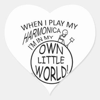 In My Own Little World Harmonica Heart Sticker