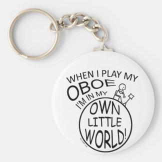 In My Own Little World Oboe Basic Round Button Keychain