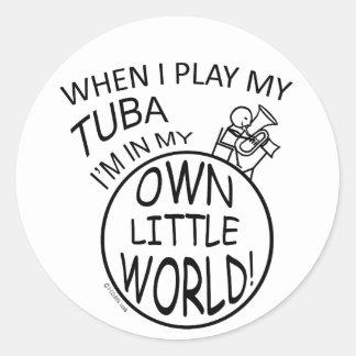 In My Own Little World Tuba Classic Round Sticker