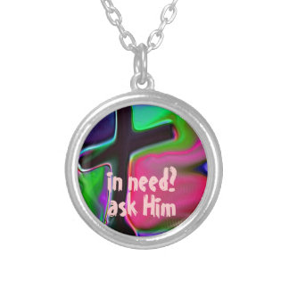 in need? ask Him Christian Cross Necklace