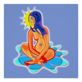 In order to meditate, poster, blue, meditation poster