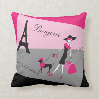 In Paris Woman and Dog Pink and Black Throw Pillow