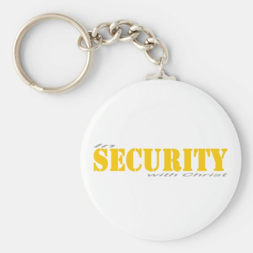 In security with Yellow Christ 2 Gray Key Chains