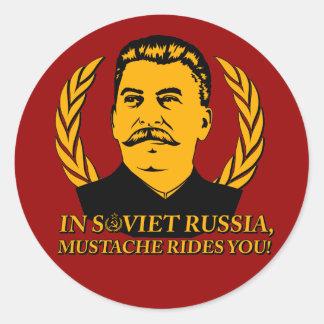 In Soviet Russia, Mustache Rides You! Classic Round Sticker