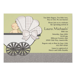 "In Suspense (You Pick Background Color)Baby Shower 5"" X 7"" Invitation Card"