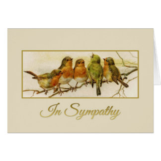In Sympathy Vintage birds Card