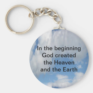 In The Beginning God Created .... Cloud Basic Round Button Keychain
