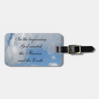 In The Beginning God Created .... Cloud Bag Tag