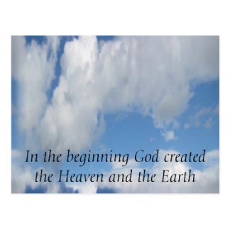 In The Beginning God Created .... Cloud Postcard