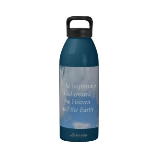 In The Beginning God Created .... Cloud Reusable Water Bottles