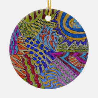 In The Beginning Round Ceramic Ornament