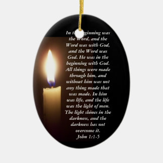 In the beginning was the Word... Ceramic Oval Ornament