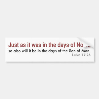 In the Days of Noah (white, version 2) Bumper Sticker