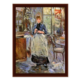 In The Dining Room By Morisot Berthe Postcard