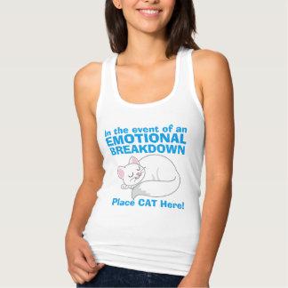 In the event of Emotional Breakdown Cat tank top