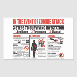 In The Event of Zombie Attack STICKERS