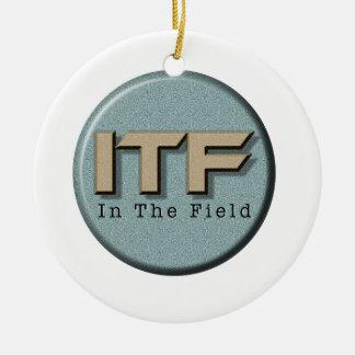 In The Field logo Round Ceramic Ornament