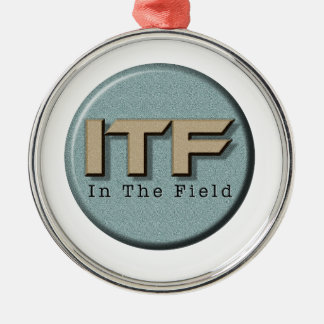 In The Field logo Silver-Colored Round Ornament