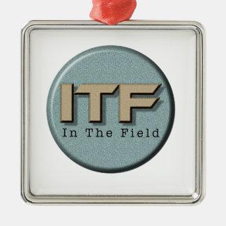 In The Field logo Silver-Colored Square Ornament
