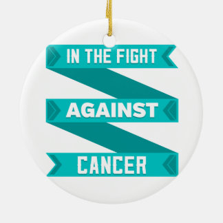 In The Fight Against Gynecologic Cancer Round Ceramic Ornament