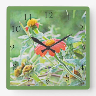 In The Flower Garden Square Clock