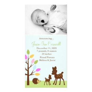 """In the forest""  Birth Announcements Custom Photo Card"