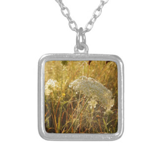 In the golden glow of morning  Queen Anne's Lace Silver Plated Necklace