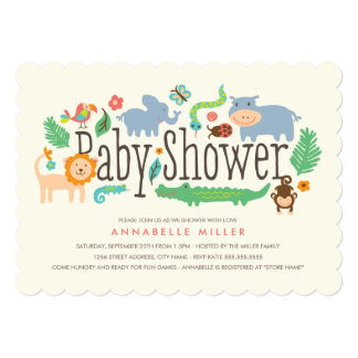 In the Jungle Baby Shower Invite Announcements