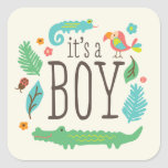 In the Jungle Baby Shower Stickers - Boy
