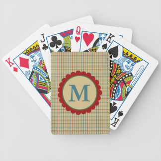 In the Kitchen Cream Plaid Monogram Bicycle Playing Cards