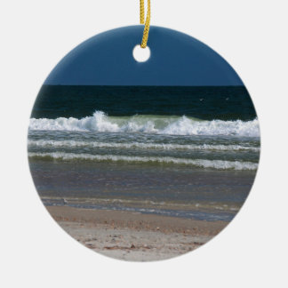 In the Land of the Long White Wave Round Ceramic Ornament