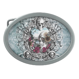 In the mirror landscape skull. belt buckle