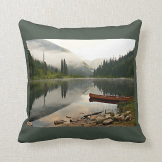 In the morning at the lake throw pillow