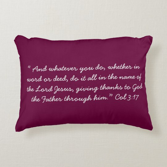 """""""In the name of Jesus"""" Scripture Accent Pillow"""