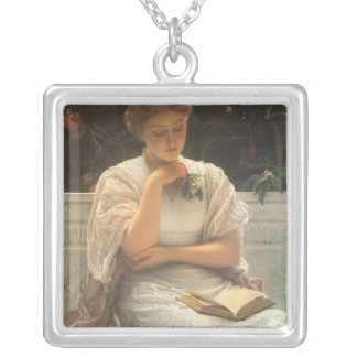 In the Orangery by Charles Edward Perugini Silver Plated Necklace