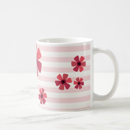 In the Pink Floral and Stripe Coffee Mug