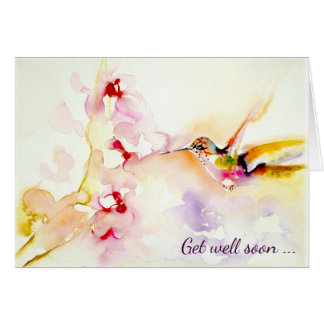 """In the Pink"" Hummingbird Get Well Card"