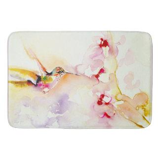 """In the Pink"" Hummingbird Print Bathroom Mat"