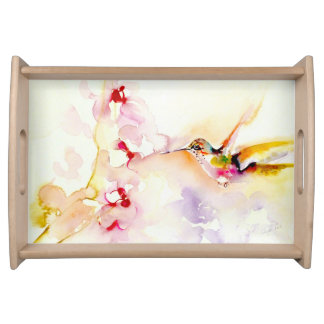 """In the Pink"" Hummingbird Print Serving Tray"