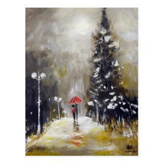 In The Rain - Art Postcard