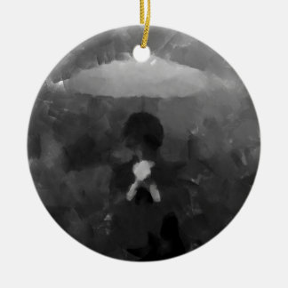 In the Rain Dark Art Painting Ceramic Ornament