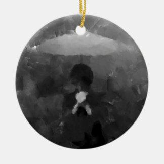 In the Rain Dark Art Painting Round Ceramic Ornament