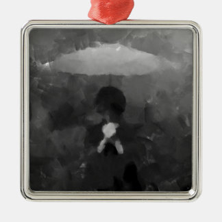 In the Rain Dark Art Painting Silver-Colored Square Ornament