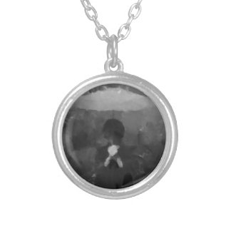 In the Rain Dark Art Painting Silver Plated Necklace
